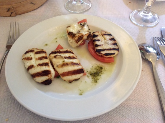 grilled Halumi with tomatoes and pesto