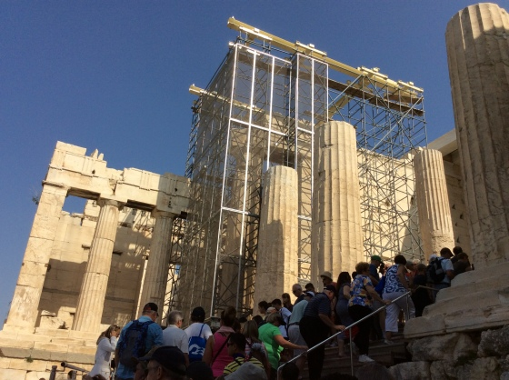 scaffolding on the gate to Parthenon