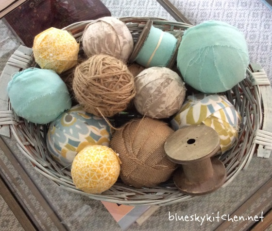 How to Make Fabric-Covered Balls with fabric scraps and styrofoam balls using just a few supplies for an easy, but pretty centerpiece.