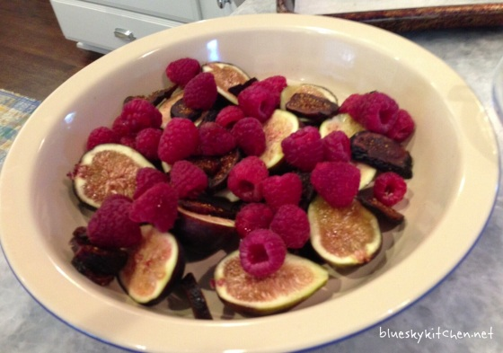 making fig and raspberry clafouti